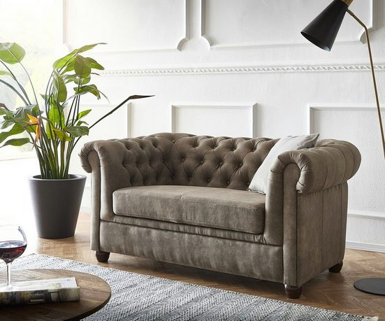 DELIFE Couch Chesterfield 2-Sitzer 146x88 cm abgesteppt Vintageoptik