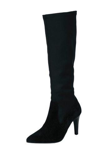 Damen Heine Stiefel im angesgten Materialmix schwarz | 05608377113740