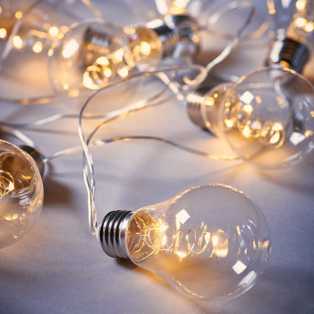 BUTLERS BULB LIGHTS »LED Glühbirnenkette 10 Lichter transparent«