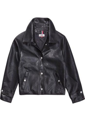 Damen Tommy Jeans Lederjacke TJW SHORT COACH JACKET schwarz | 08719702208455