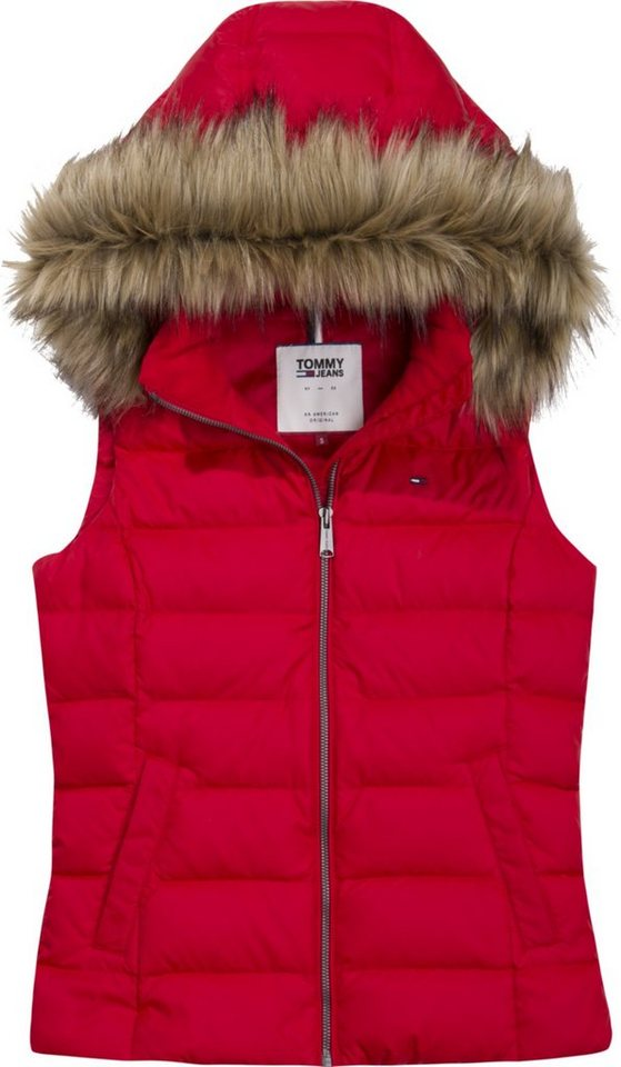 Tommy Jeans Weste »TJW ESSENTIAL HOODED DOWN VEST« | Bekleidung > Westen > Jeanswesten | Rot | Polyester | TOMMY JEANS