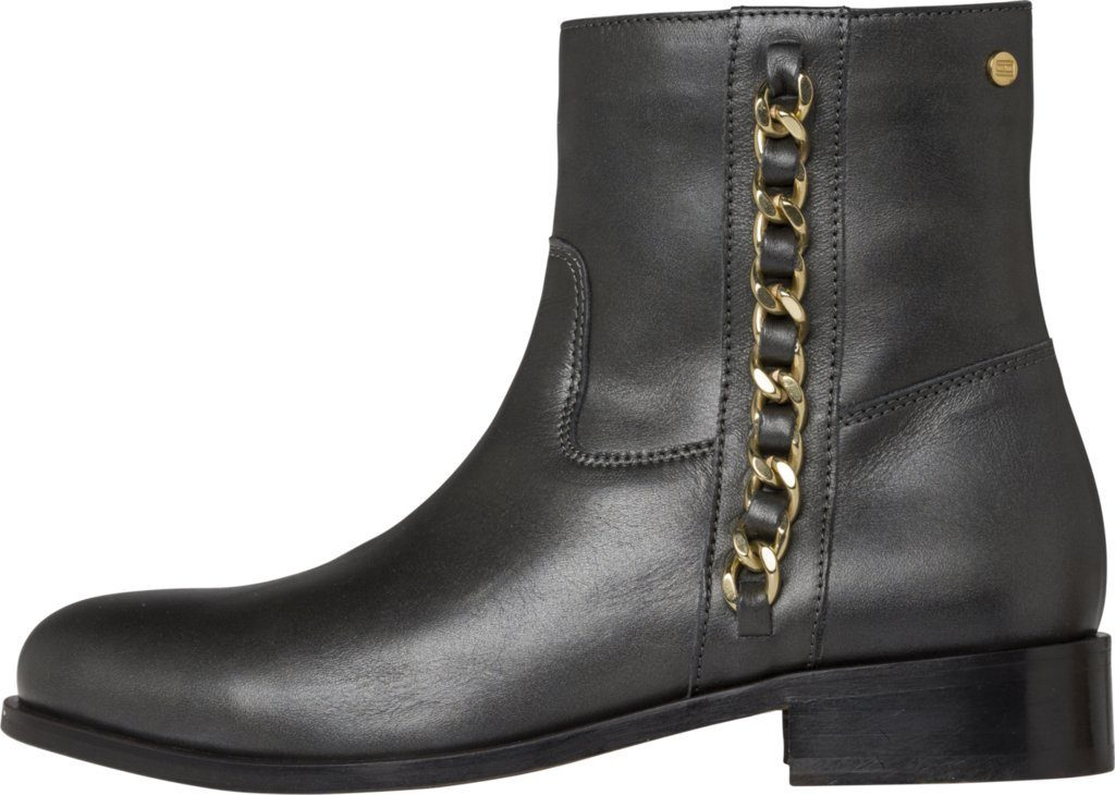 Tommy Hilfiger Boots CHAIN DETAIL FLAT BOOT  BLACK