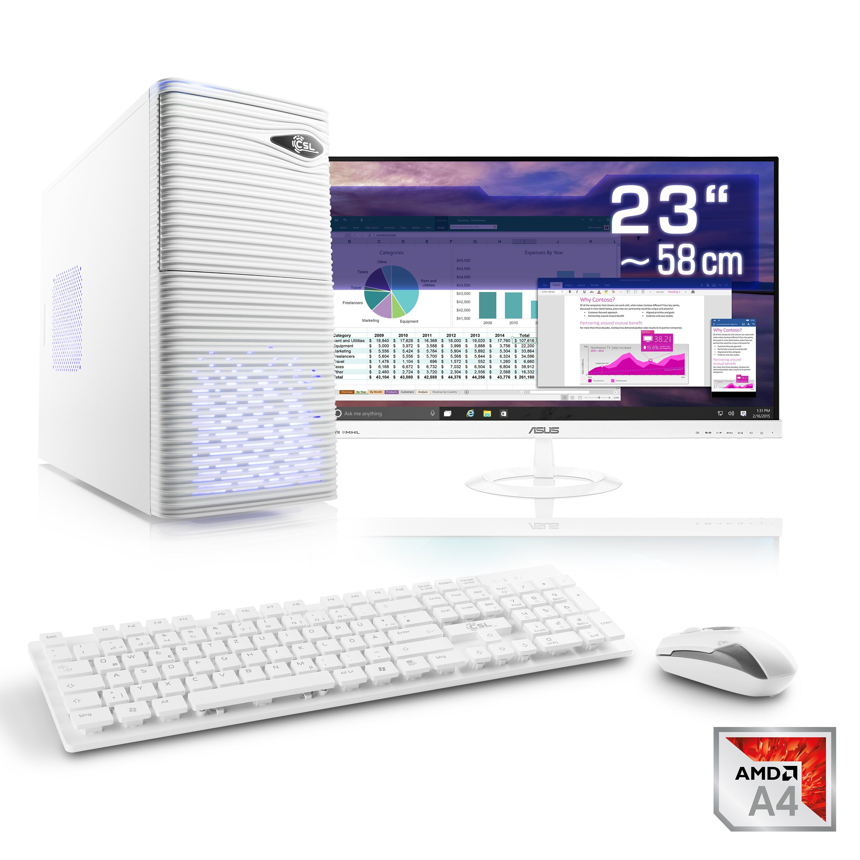 "CSL Office PC Set | AMD QuadCore | Radeon HD | 8 GB RAM | 23"" TFT »Sprint T2815 Windows 10 Home«"