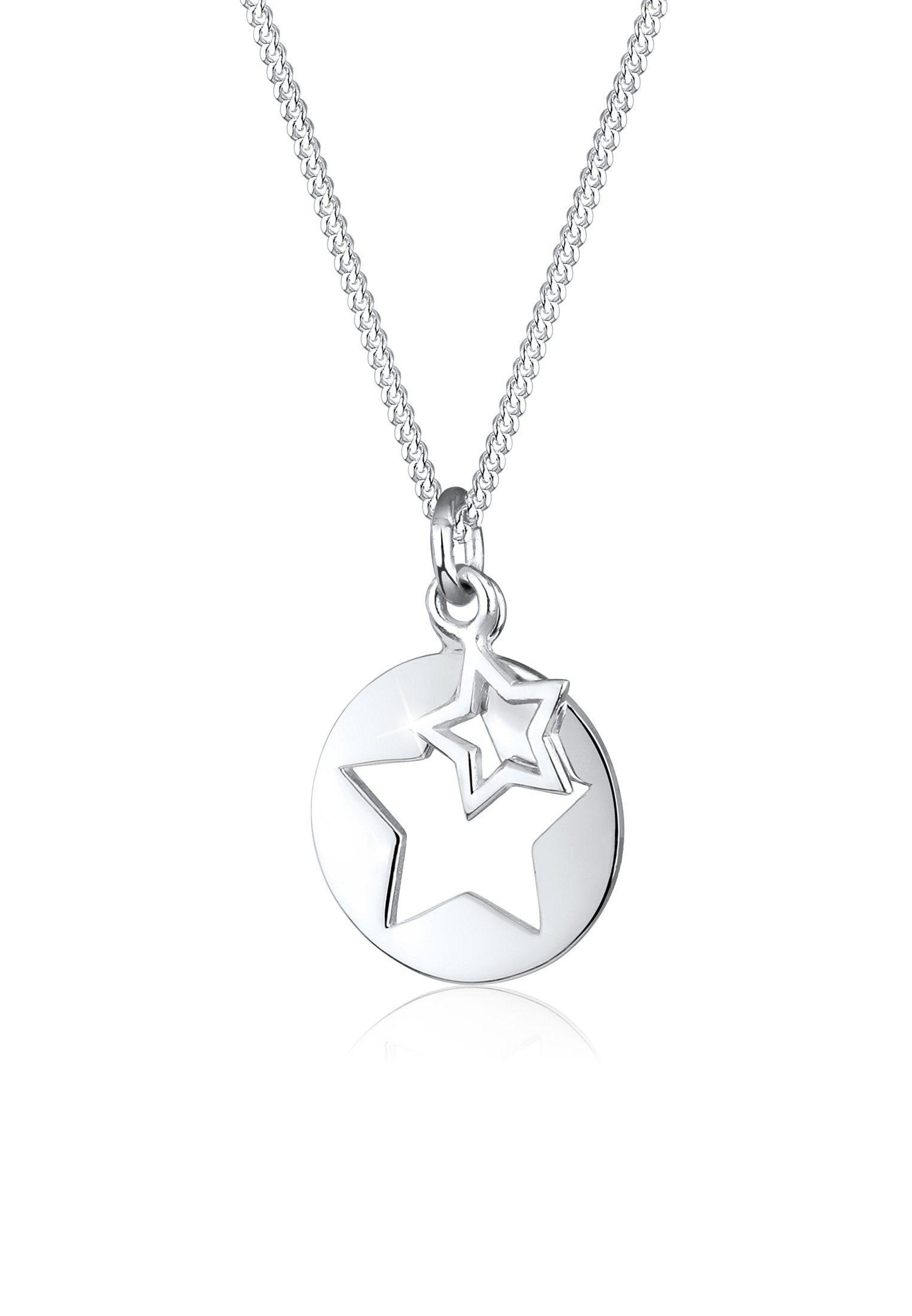 Elli Halskette »Stern Münze Cut Out 925 Silber«