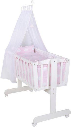 roba® Stubenbett »Komplettwiege, Kleine Wolke rosa«, mit Komplettausstattung