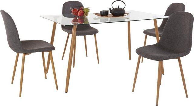 Essgruppen - Essgruppe, (Set, 5 tlg), Eckiger Glastisch mit 4 Stühlen (Webstoff)  - Onlineshop OTTO
