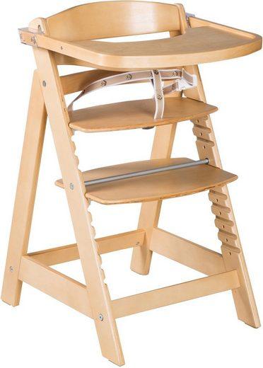 roba® Hochstuhl »Treppenhochstuhl Sit Up Click & Fun, natur« aus Holz