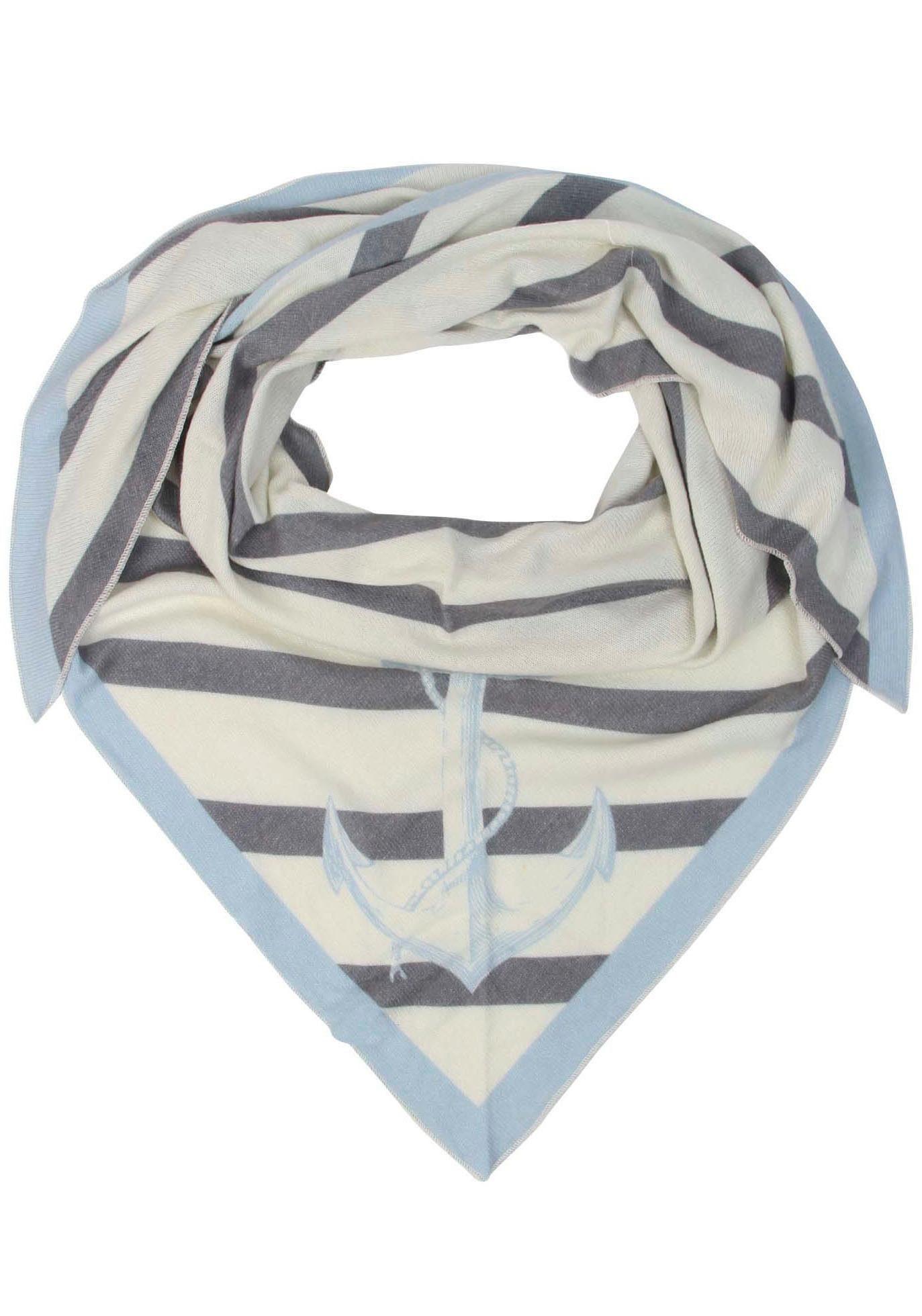 Zwillingsherz Dreieckstuch Tuch Esta mit Kashmir Anteil, gestreift, Anker, Feinstrick