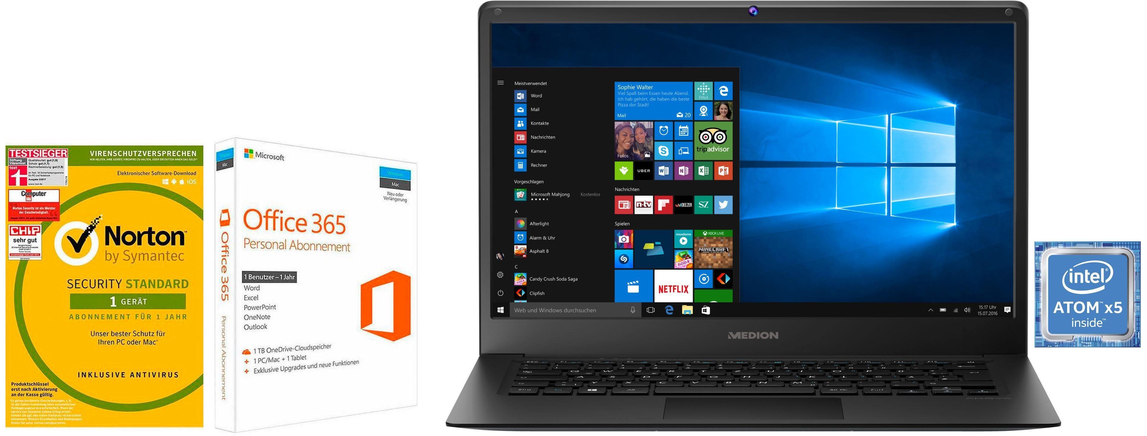 Medion® Akoya E4241 Notebook (35,6 cm/14 Zoll, Intel Atom, , 64 GB SSD)