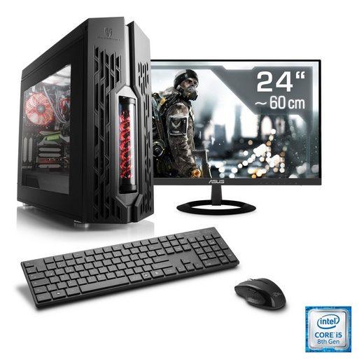 """CSL Gaming PC Set, i5-8500, GTX 1050 Ti, 8 GB RAM, 24"""" TFT »HydroX T5470 Wasserkühlung«"""