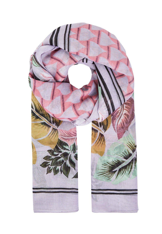 HALLHUBER Tuch mit Grafik- & Blätterdruck