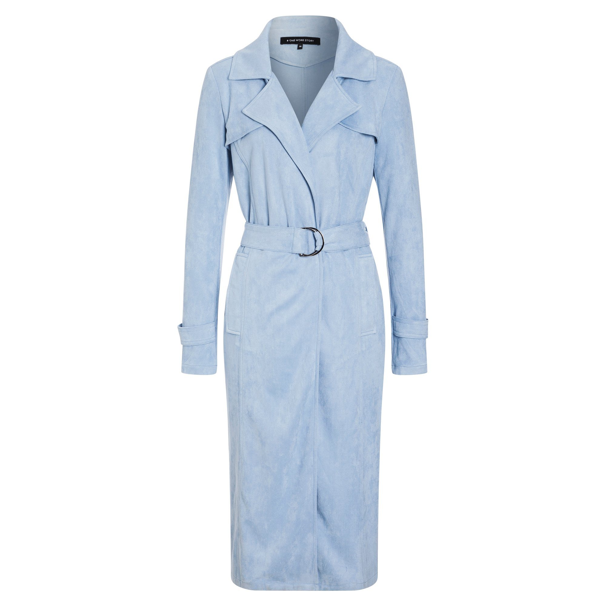ONE MORE STORY Velours Trench Coat im Leder-Look   Bekleidung > Mäntel > Trenchcoats   Velours - Elasthan   ONE MORE STORY