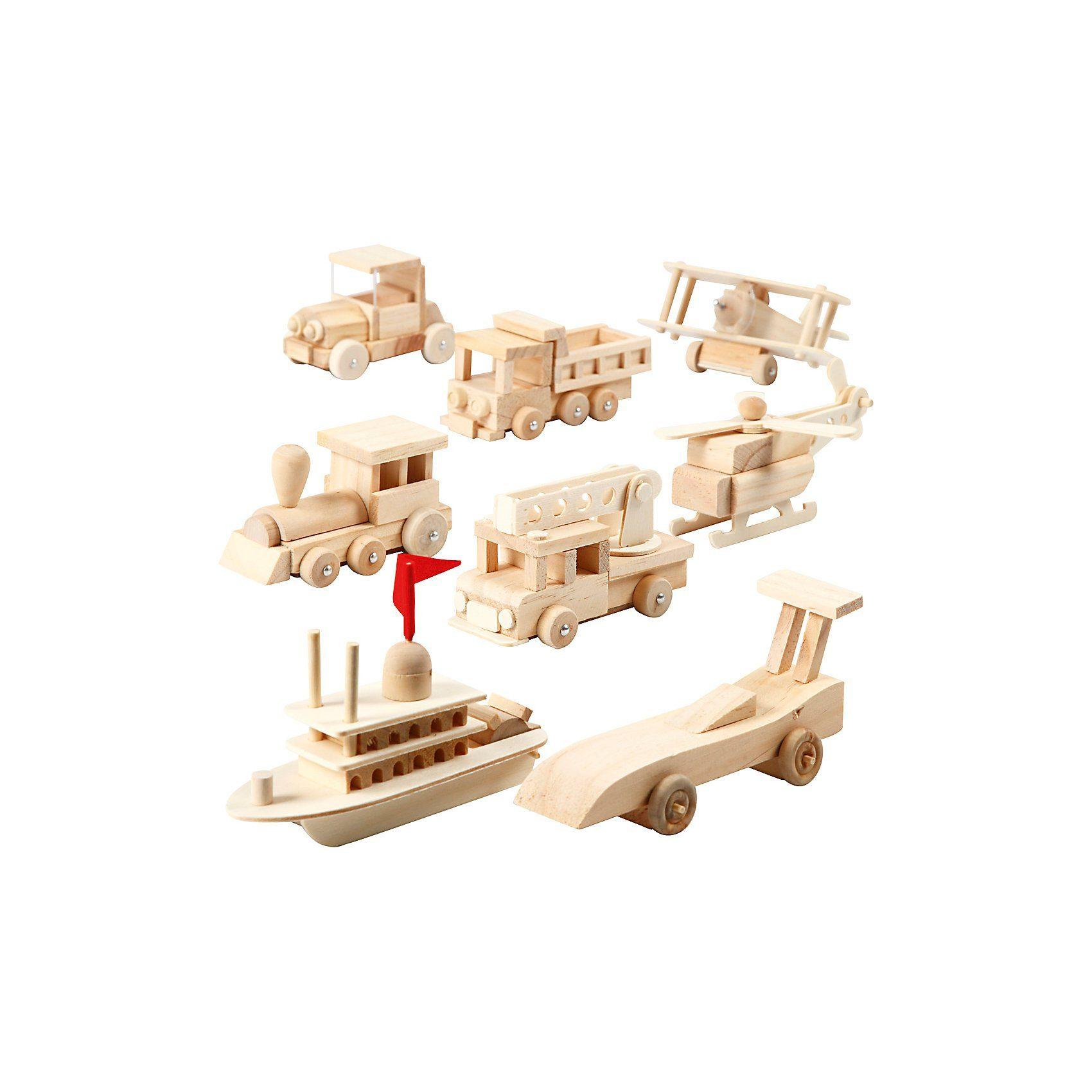 Autos, Schiffe, Flugzeuge und Züge, Größe 5x6x11 cm, Kiefern