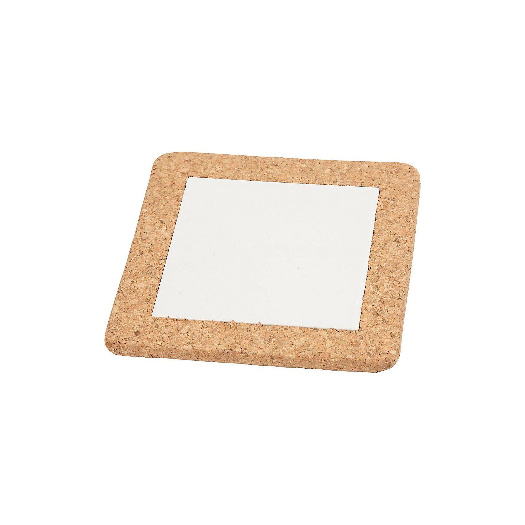Untersetzer mit Korkrahmen, Außenmaße 15x15x1 cm, Innenmaße