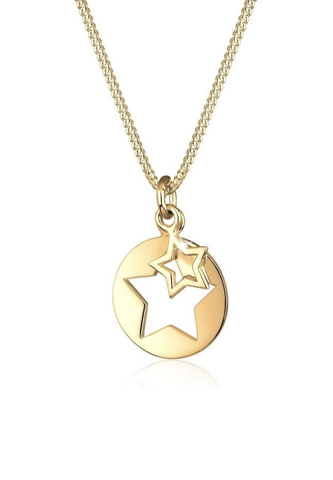 Elli Halskette Sterne Astro Münze Cut Out 925 Silber Vergoldet