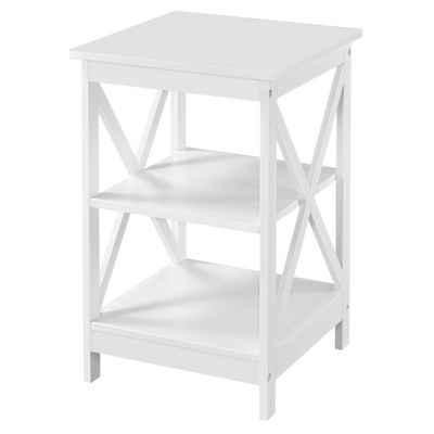 Yaheetech Nachttisch, Beistelltisch Nachtschrank Sofatisch Couchtisch für Schlafzimmer, Wohnzimmer 40x40x61cm Weiß