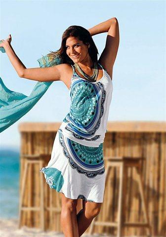 Beachtime Strandkleid in blau-bedruckt