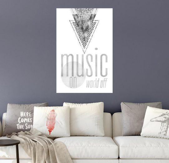 Posterlounge Wandbild - Melanie Viola »GRAPHIC ART SILBER Music on World Off«