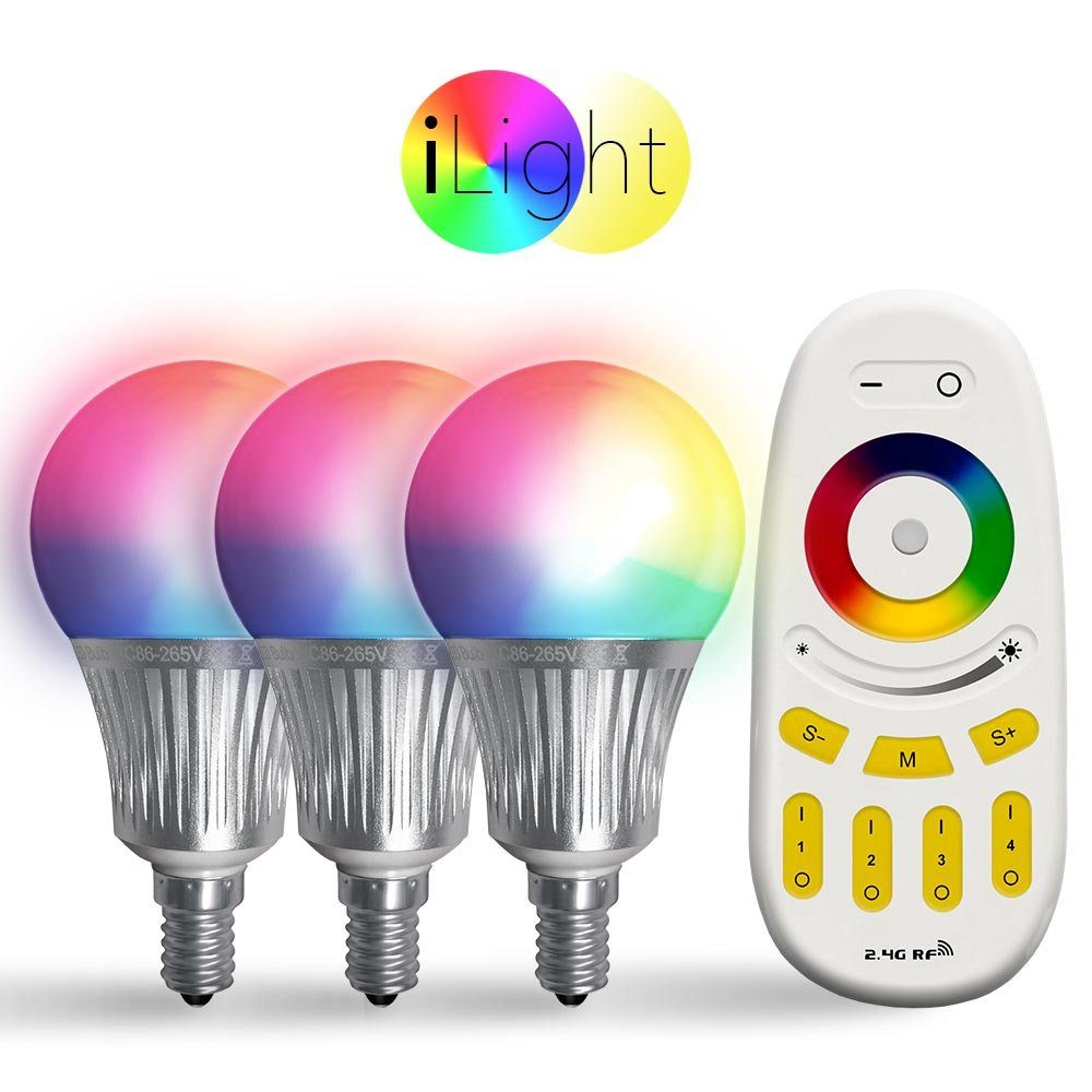 s.LUCE Leuchtmittel »3x E14 iLight LED + Fernbedienung RGBW«