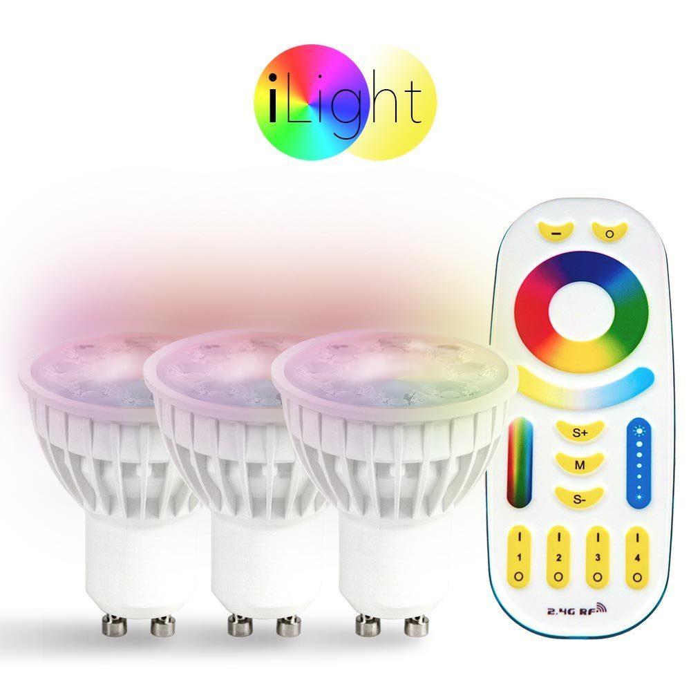 s.LUCE Leuchtmittel »3x GU10 iLight LED + Fernbedienung RGB + CCT«