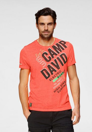 CAMP DAVID T-Shirt mit Logofrontprint