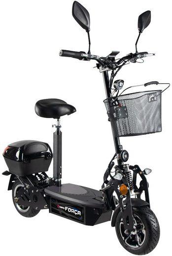 Forca E-Scooter »Camper Basic 20 km/h Safety Plus mit Nabenmotor (inkl. Blinker + Gepäck-Case + Lithium-Akku)«, 500 W, 20 km/h