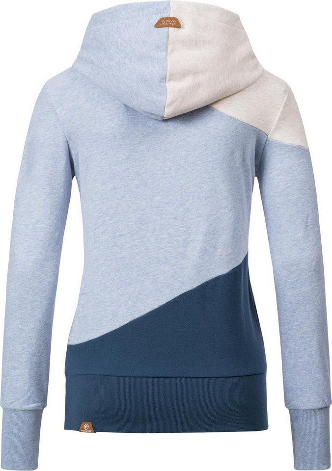 Damen Ragwear Kapuzenpullover Chelsea Block kuschelig weicher Langarm Hoodie blau | 04251436255663