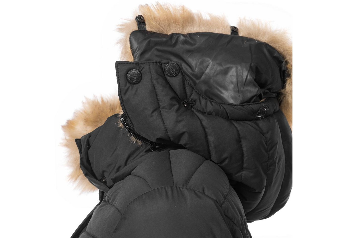 Damen Navahoo Steppmantel Täubchen, hochwertiger Winterparka m. Kunstfellkapuze rot, schwarz | 04059072113442