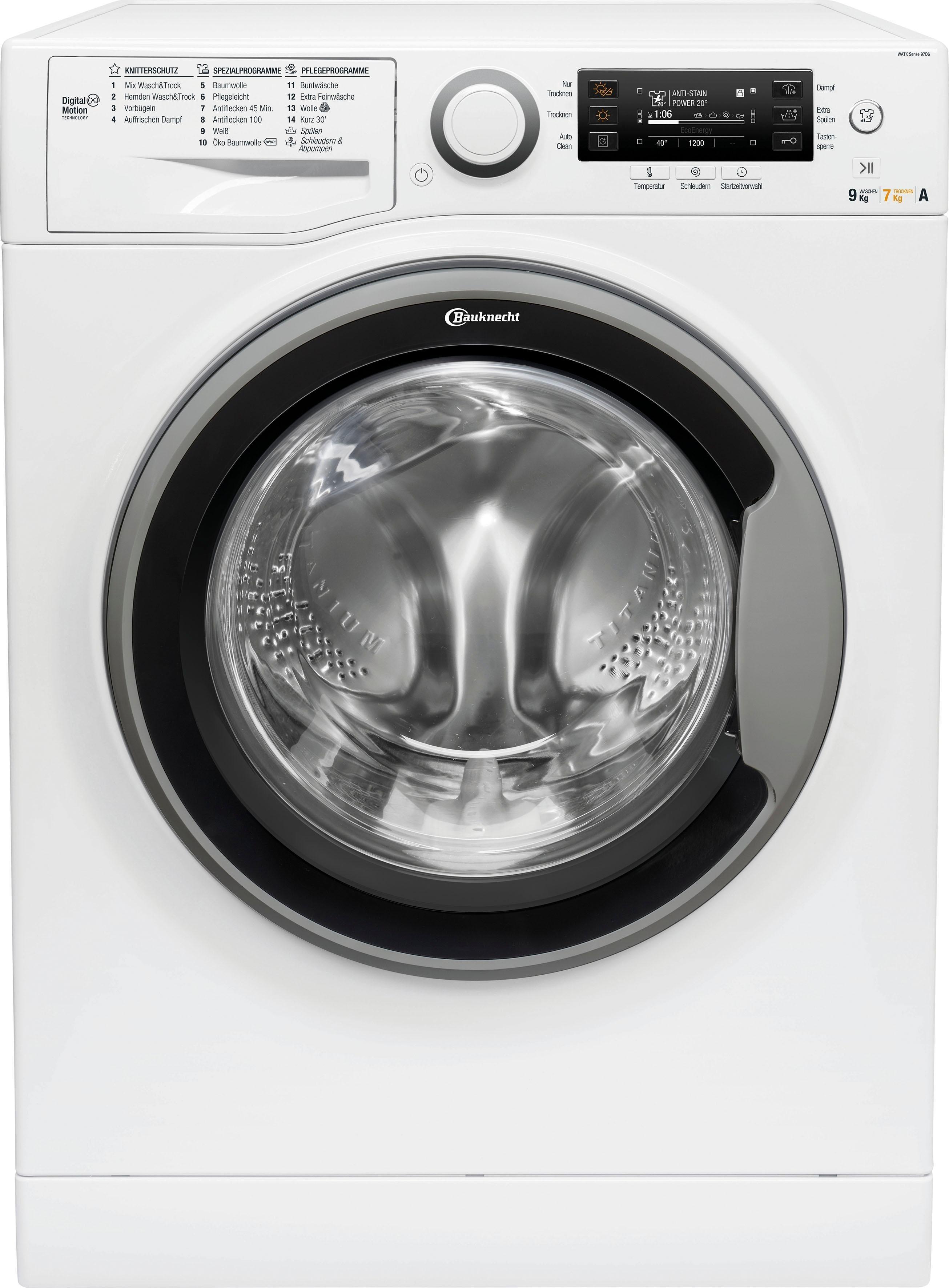 BAUKNECHT Waschtrockner, 9 kg/7 kg, 1600 U/Min