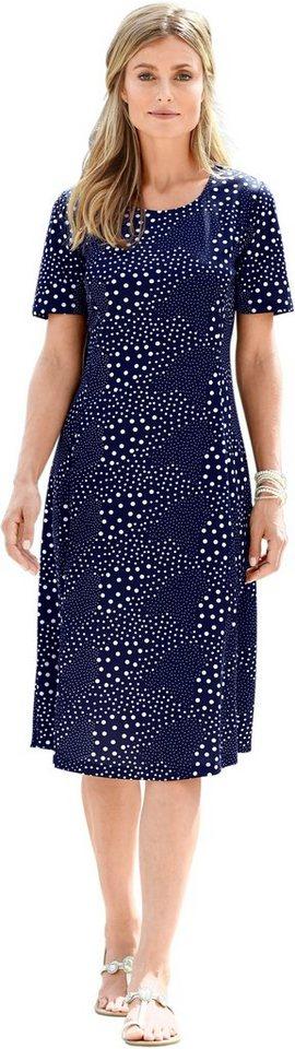 Damen Classic Basics Kleid in hinreißendem Pünktchen-Dessin blau | 08903565117799
