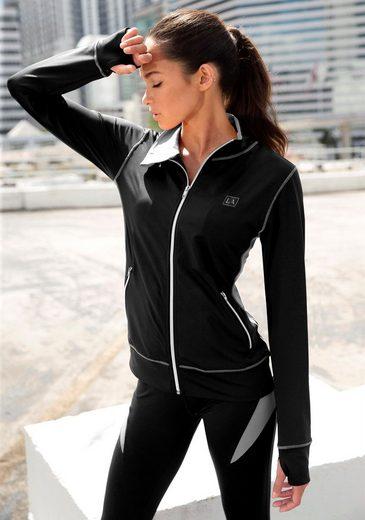 LASCANA ACTIVE Trainingsjacke »Black Marble« mit Kontrastnähten