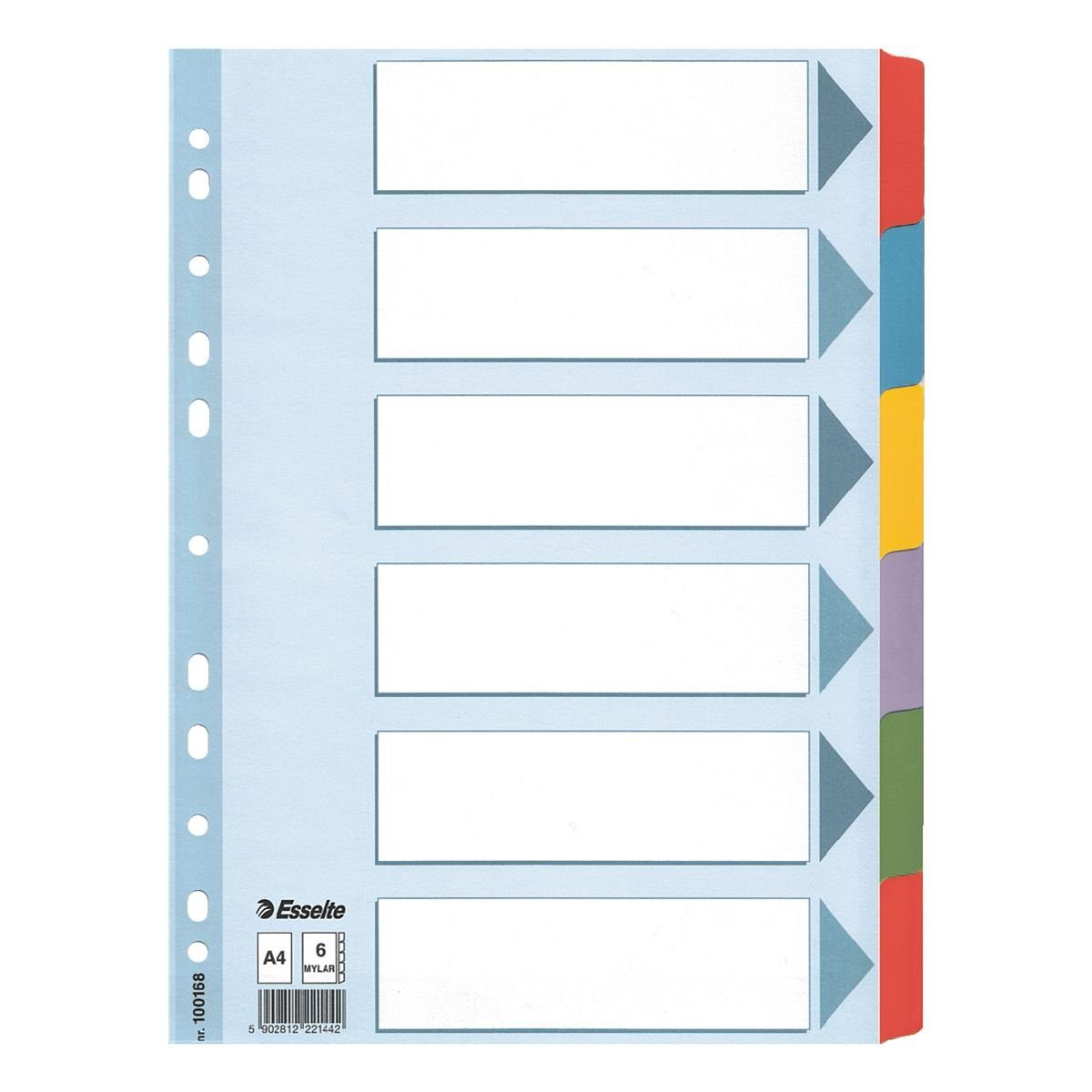 Esselte Kartonregister 6-teilig blanko farbige Taben A4 weiß