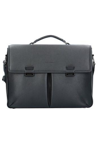 Damen Piquadro David Aktentasche Leder 43 cm Laptopfach schwarz | 08024671462044