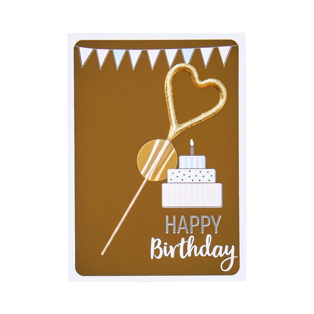 BUTLERS MAGIC MOMENTS »Mini-Grußkarte Happy Birthday mit Wunderkerze«