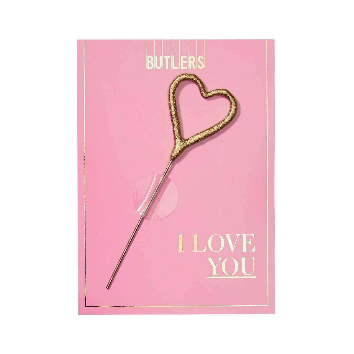 BUTLERS MAGIC MOMENTS »Mini-Grußkarte I love You mit Wunderkerze«