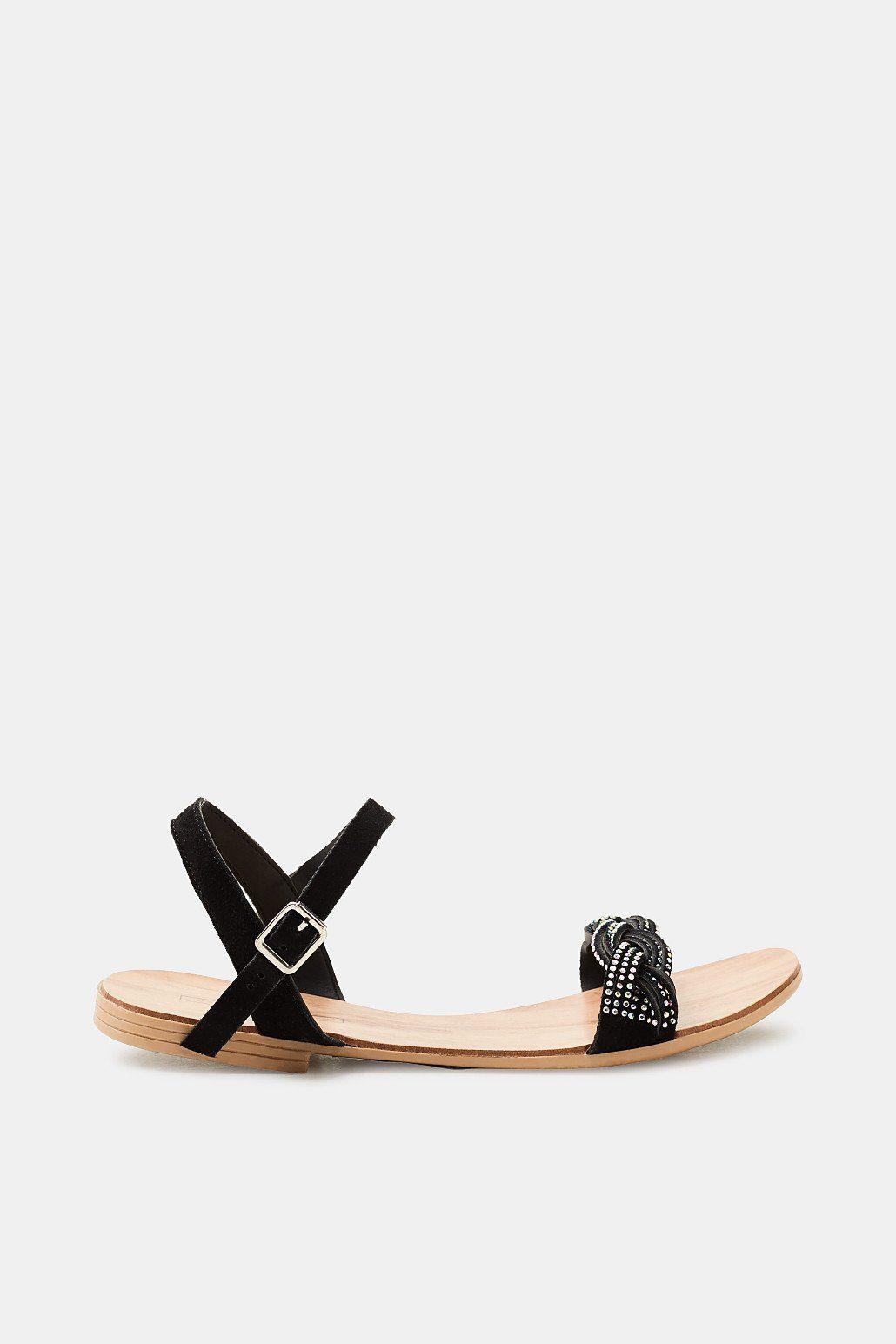 Esprit Flache Sandale mit Leder-Riemchen und Glitter für Damen, Größe 37, Black