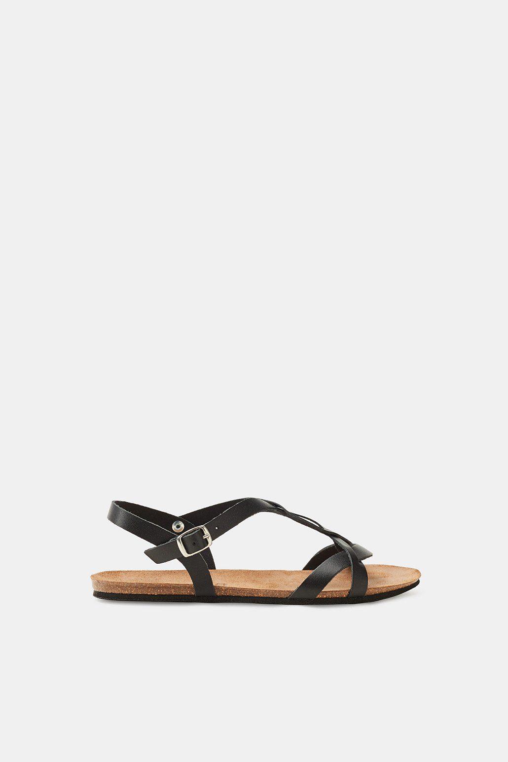 Esprit Flache Sandale mit Leder-Riemen und Leder-Sohle für Damen, Größe 36, Silver