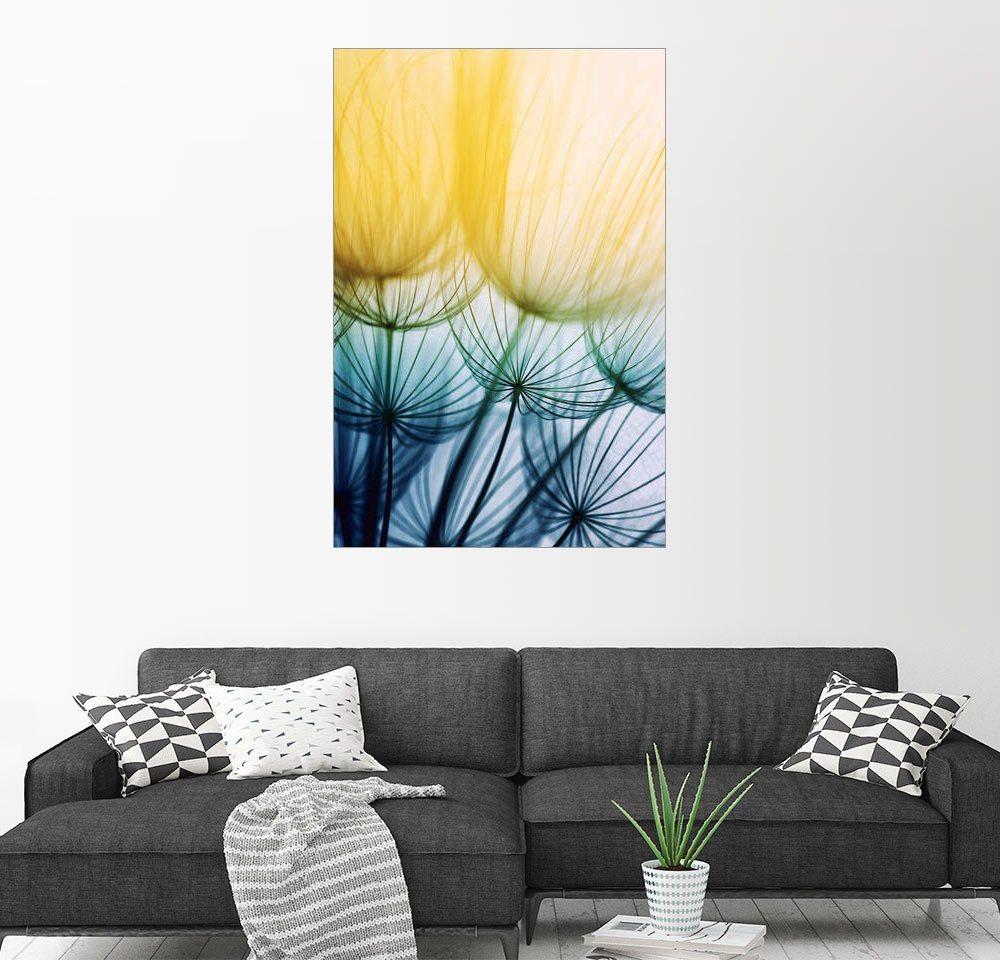 Posterlounge Wandbild »Silhouetten in gelb bis lila« | Dekoration > Bilder und Rahmen > Bilder | Gelb | Holz | Posterlounge