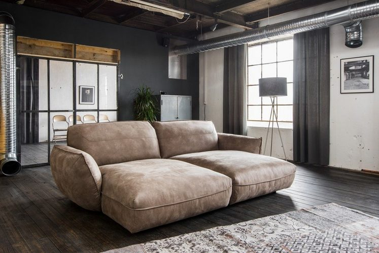 Kasper-Wohndesign Big Sofa Longchair Stoff braun »Davito«
