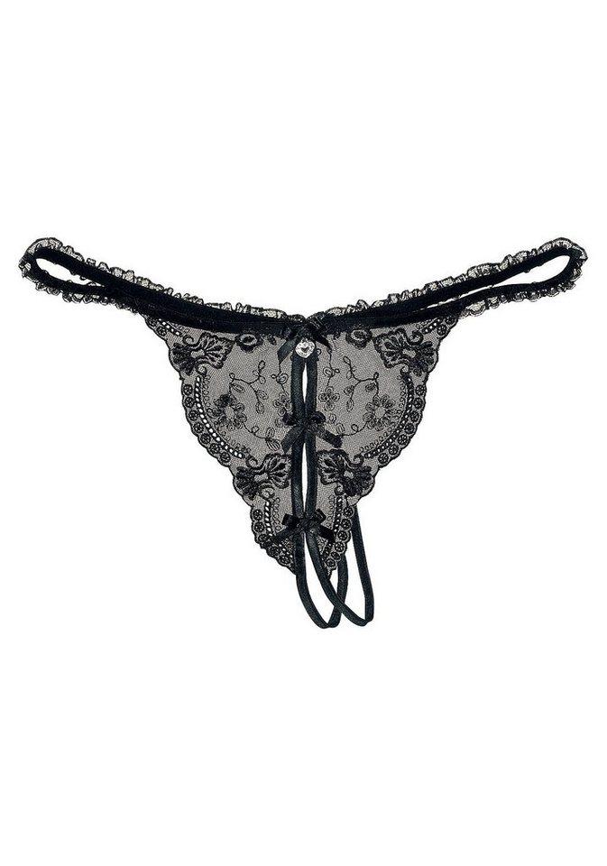 Petite Fleur String-Ouvert in schwarz