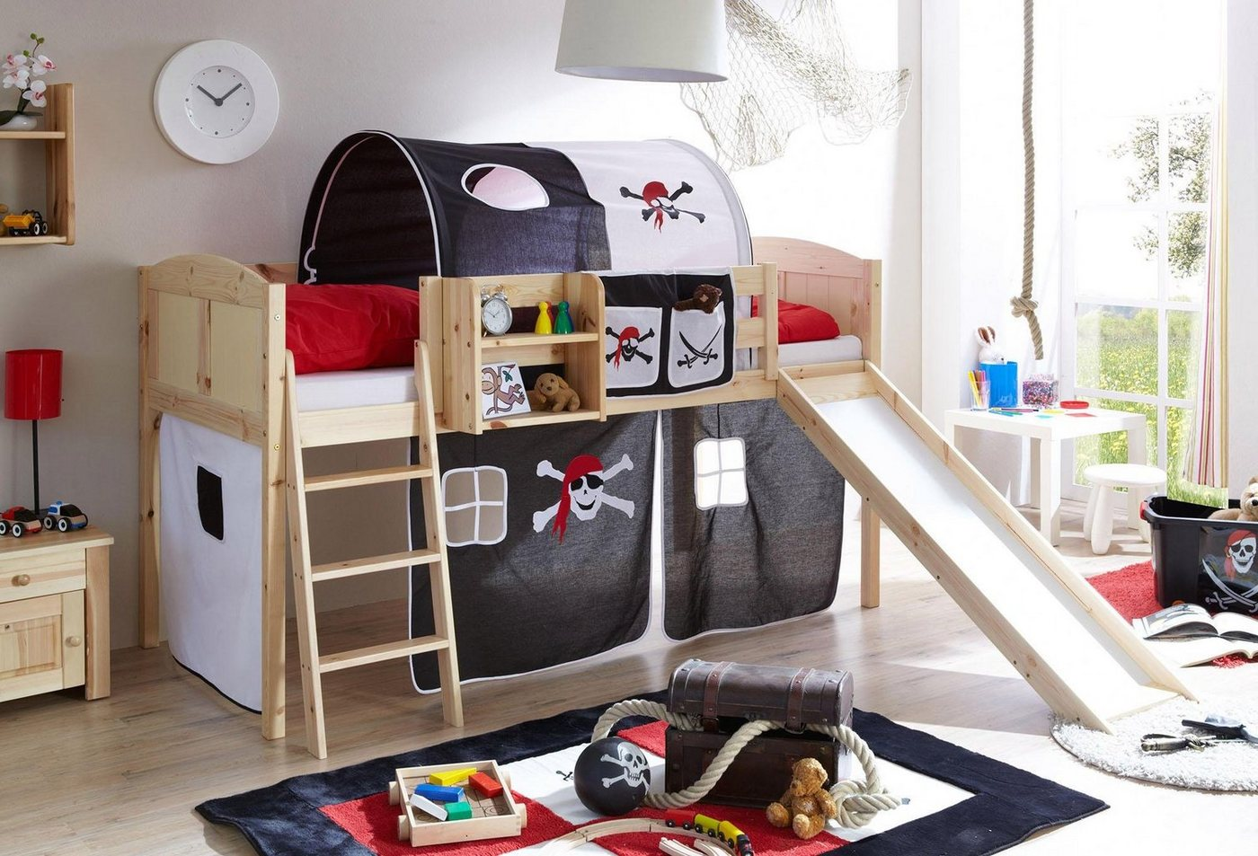 Komplettzimmer - Ticaa Jugendzimmer Set »Ekki«, mit Rutsche und Textil Set, Kiefer massiv natur lackiert  - Onlineshop OTTO