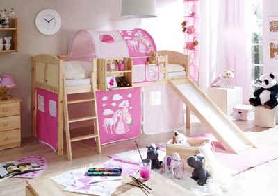 Ticaa Jugendzimmer-Set »Ekki« mit Rutsche und Textil-Set, Kiefer massiv natur lackiert