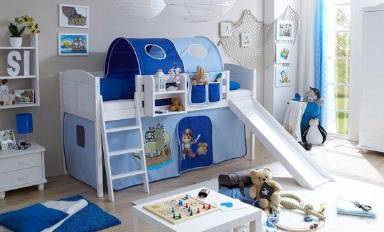 Ticaa Jugendzimmer-Set »Ekki« mit Rutsche und Textil-Set, Kiefer massiv weiß gewachst
