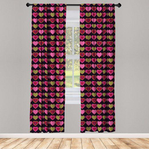 Gardine »Fensterbehandlungen 2 Panel Set für Wohnzimmer Schlafzimmer Dekor«, Abakuhaus, Valentinstag Punkte und Herzen