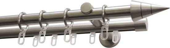Gardinenstange »Gardinenstangen Set Kegel Metall«, GARDINIA, Ø 20 mm, 2-läufig, Fixmaß, Serie Kegel