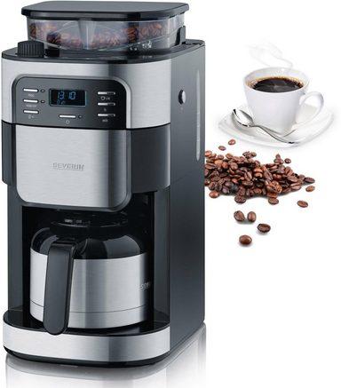 Severin Kaffeemaschine mit Mahlwerk KA 4812, Permanentfilter 1x4, Edelstahl-Thermokanne