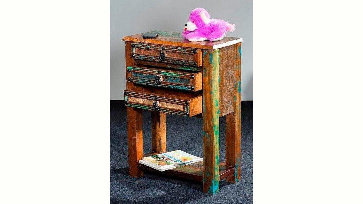 Kasper-Wohndesign Beistelltisch 3 Schubladen recyceltes Holz »DILA«
