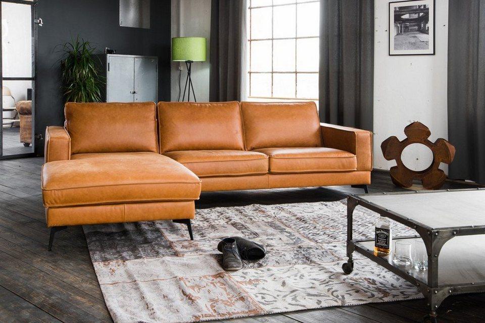 Kasper Wohndesign Sofa Leder Retro Cognac Recamiere Rechts O Links