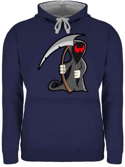 Shirtracer Hoodie »Sensenmann - Halloween - Unisex Damen & Herren Kontrast Hoodie«