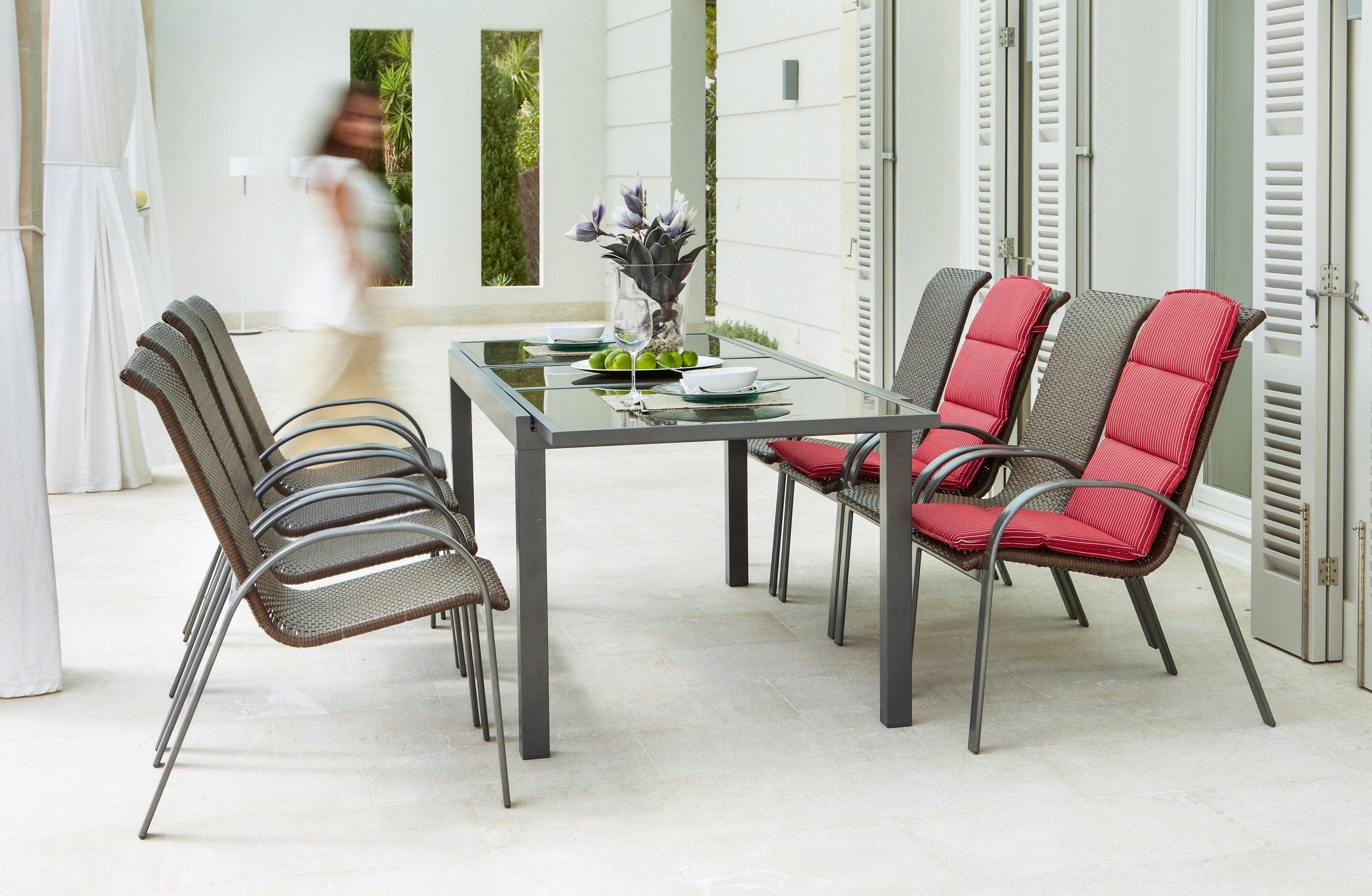 Gartenmöbelset »Côte d´Azur«, 9-tlg., 8 Sessel, Tisch 240x100x75 cm, grau